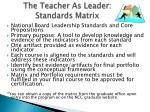 the teacher as leader standards matrix