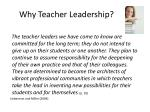 why teacher leadership
