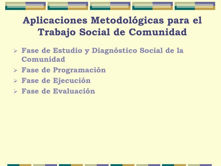 Aplicaciones Metodológicas para el Trabajo Social de Comunidad
