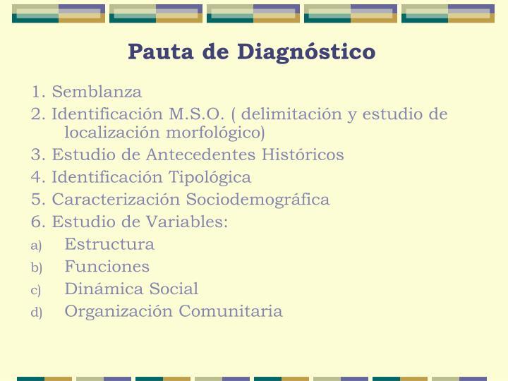 Pauta de Diagnóstico