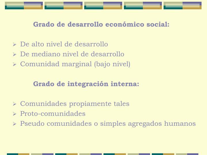 Grado de desarrollo económico social: