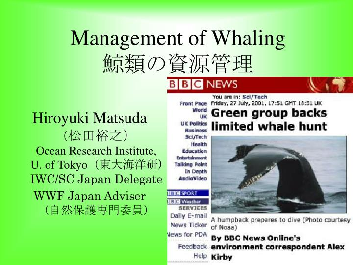 management of whaling n.