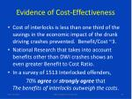 evidence of cost effectiveness