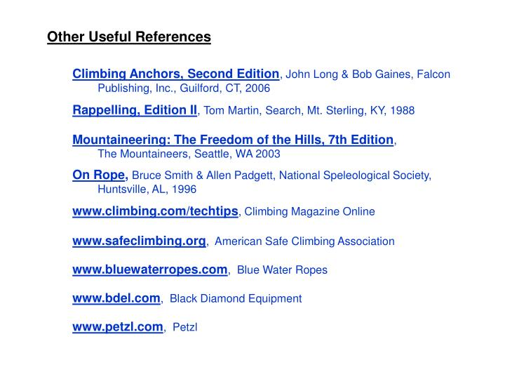 Other Useful References