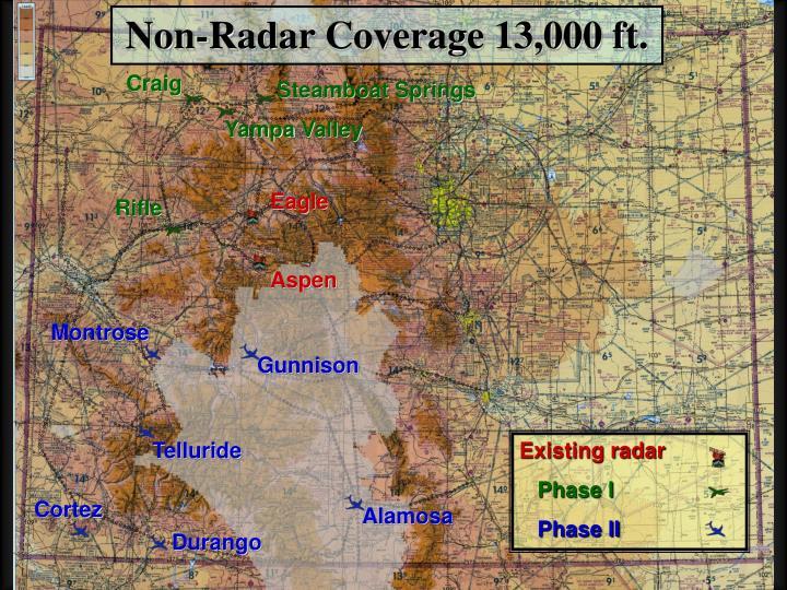 Non-Radar Coverage 13,000 ft.