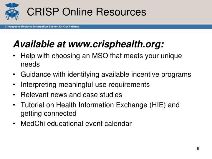 CRISP Online Resources