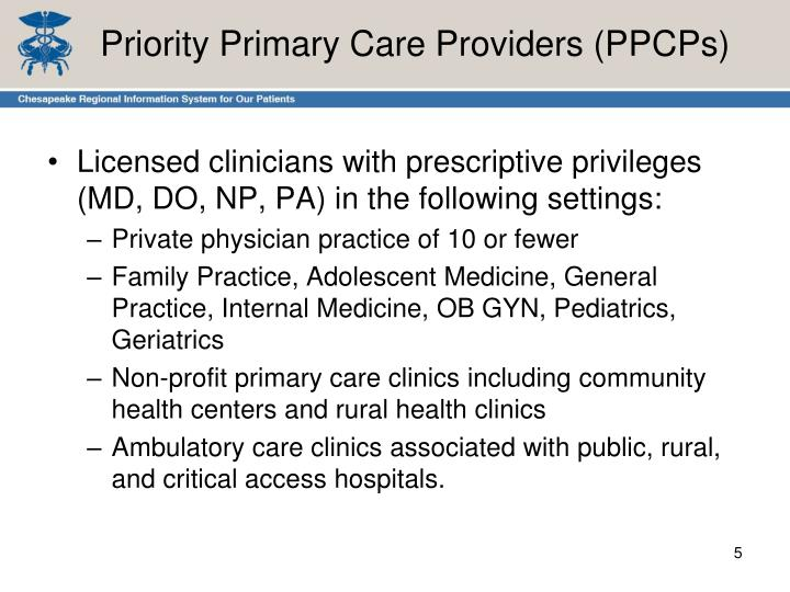 Priority Primary Care Providers (PPCPs)