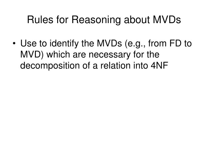 Rules for reasoning about mvds