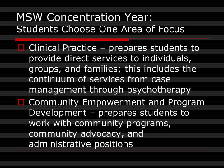 MSW Concentration Year: