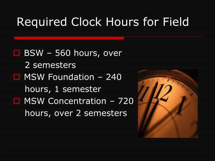 Required Clock Hours for Field