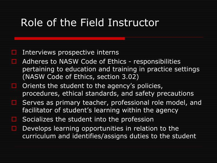 Role of the Field Instructor