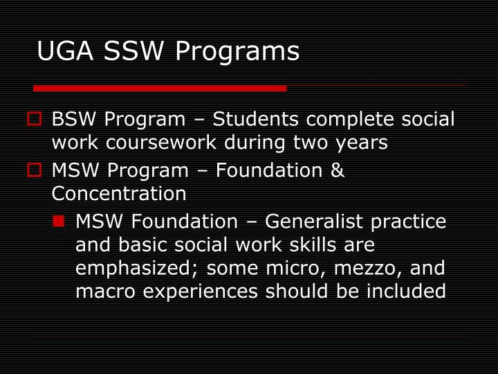 UGA SSW Programs