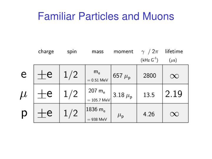 Familiar Particles and Muons
