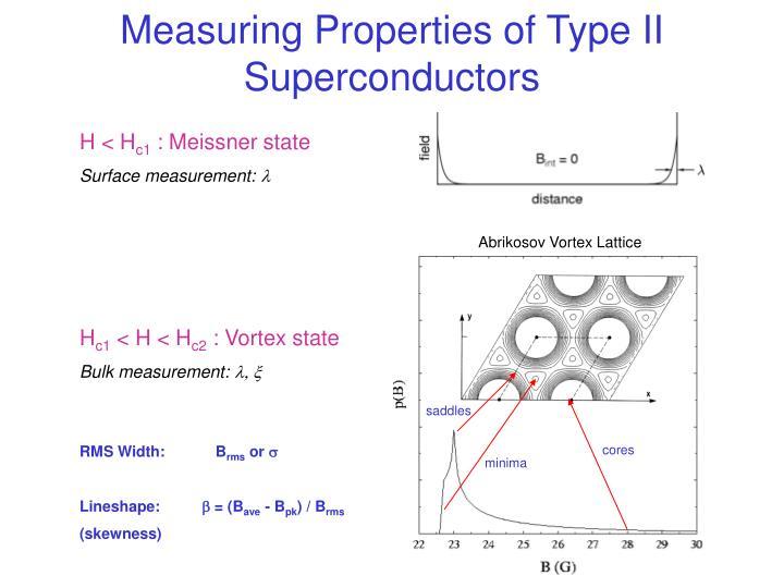 Measuring Properties of Type II Superconductors