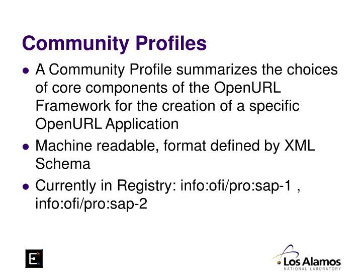 Community Profiles