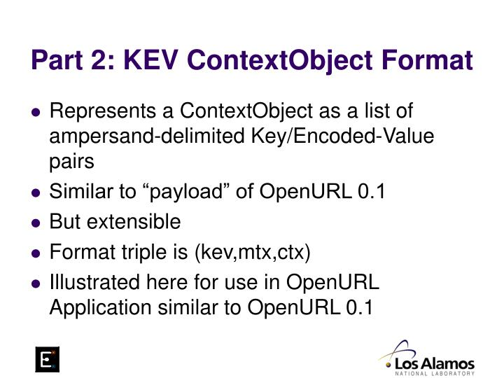 Part 2: KEV ContextObject Format