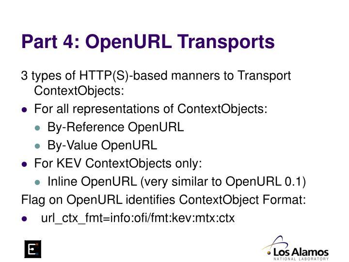 Part 4: OpenURL Transports