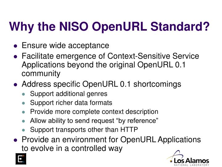Why the NISO OpenURL Standard?