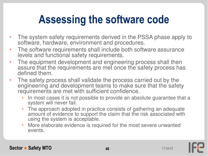Assessing the software code