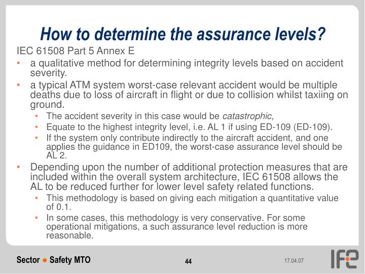 How to determine the assurance levels?