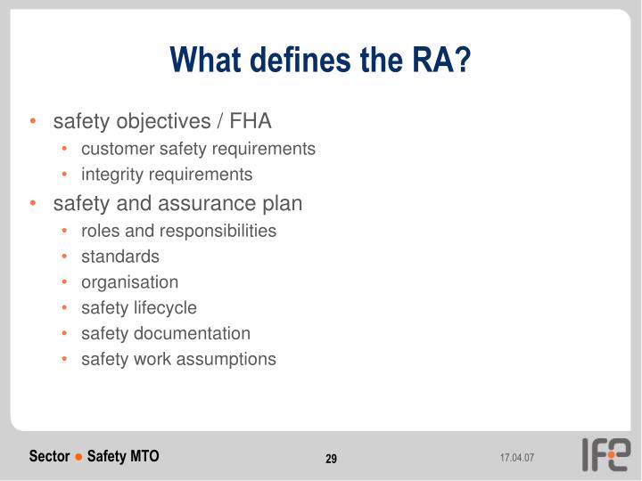 What defines the RA?