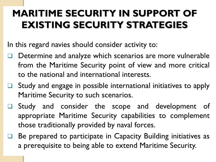 MARITIME SECURITY IN SUPPORT OF EXISTING SECURITY STRATEGIES