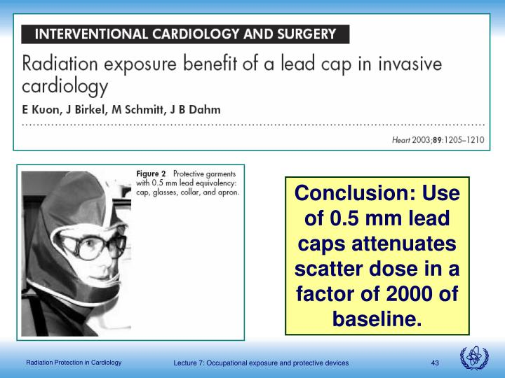 Conclusion: Use of 0.5 mm lead caps attenuates scatter dose in a factor of 2000 of baseline.
