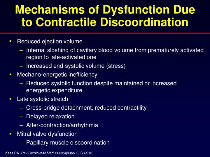 Mechanisms of dysfunction due to contractile discoordination