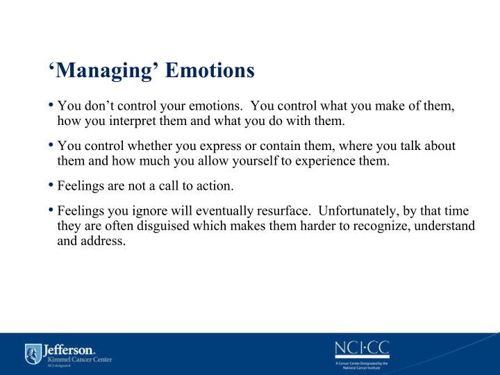 'Managing' Emotions