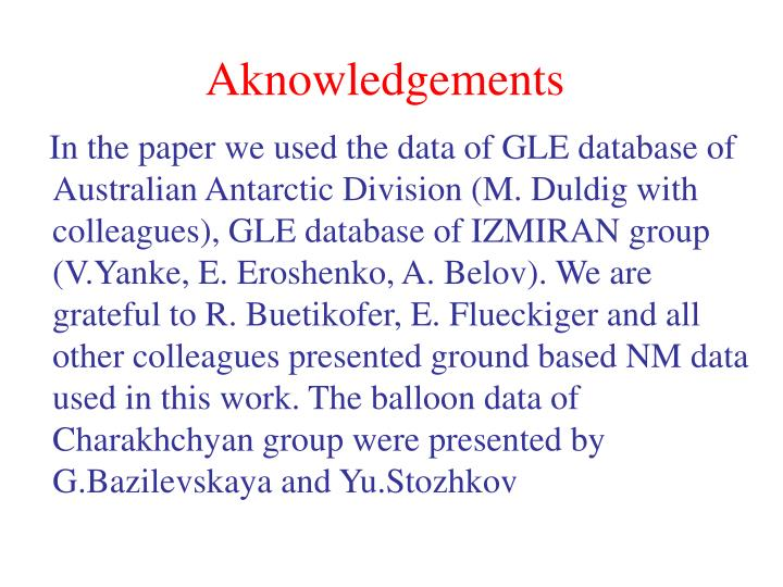 Aknowledgements