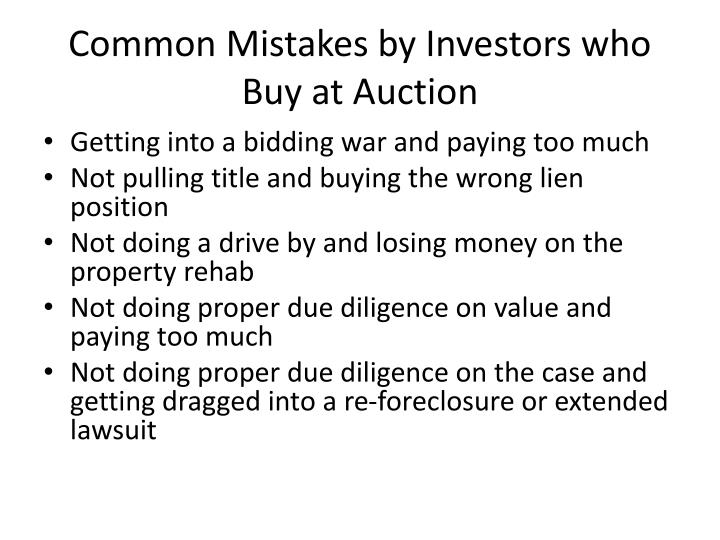 Common Mistakes by Investors who Buy at Auction
