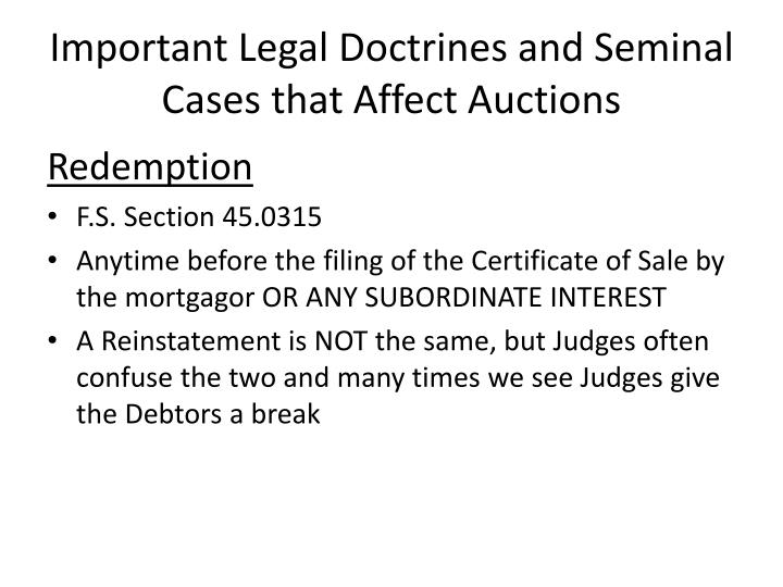Important Legal Doctrines and Seminal Cases that Affect Auctions
