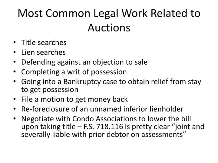 Most Common Legal Work Related to Auctions