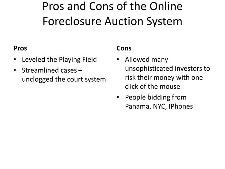 Pros and Cons of the Online Foreclosure Auction System