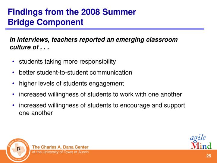 In interviews, teachers reported an emerging classroom culture of . . .