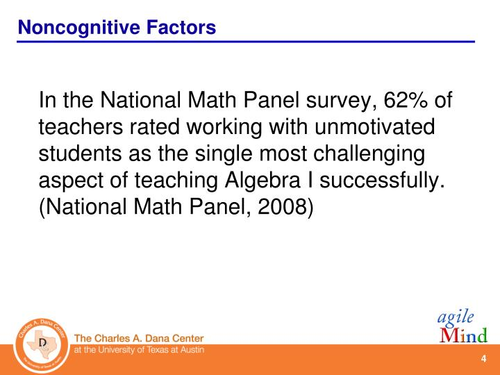 In the National Math Panel survey, 62% of teachers rated working with unmotivated students as the single most challenging aspect of teaching Algebra I successfully. (National Math Panel, 2008)