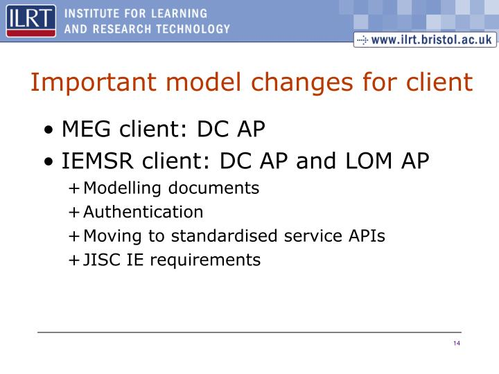 Important model changes for client