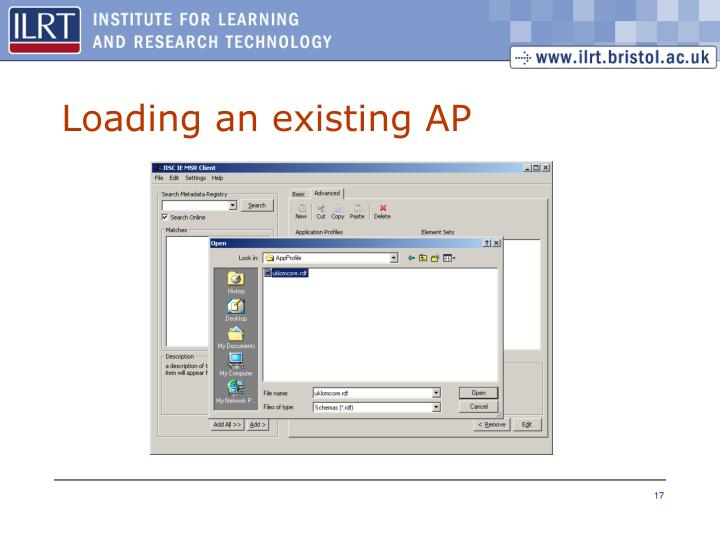 Loading an existing AP