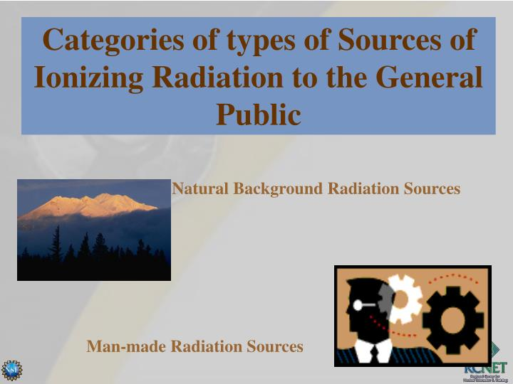 Categories of types of Sources of Ionizing Radiation to the General Public