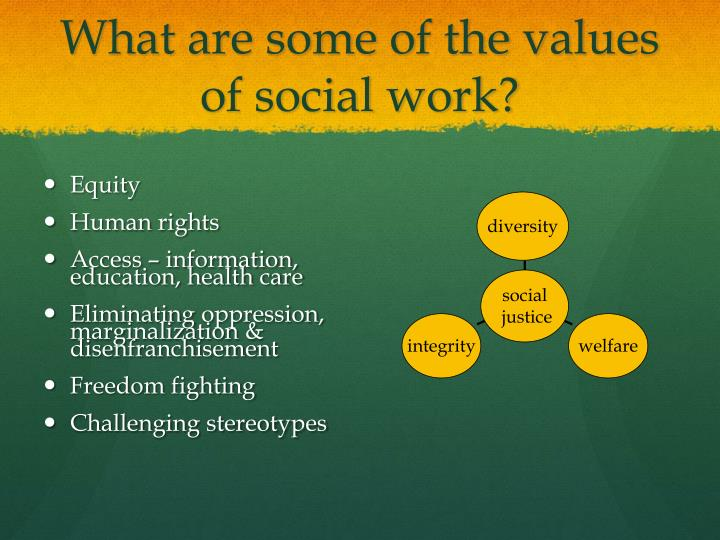 What are some of the values of social work