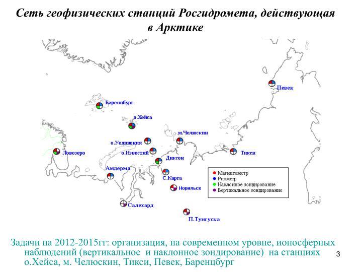 Сеть геофизических станций Росгидромета, действующая ...