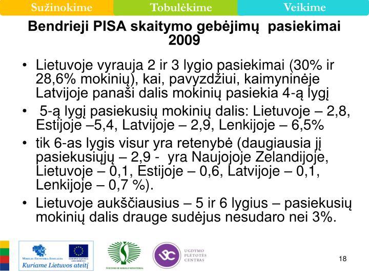 Bendrieji PISA skaitymo gebėjimų  pasiekimai