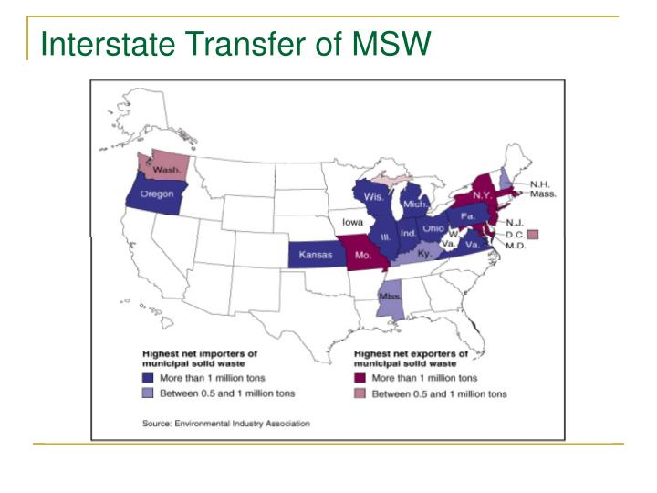 Interstate Transfer of MSW