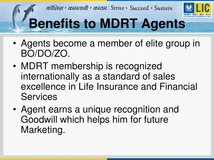 Benefits to MDRT Agents