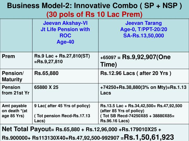 Business Model-2: Innovative Combo ( SP + NSP )