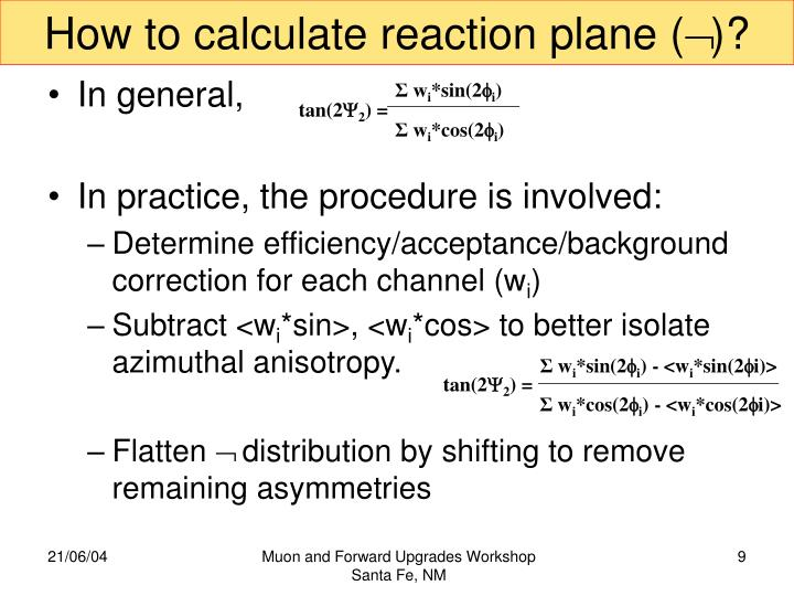 How to calculate reaction plane (