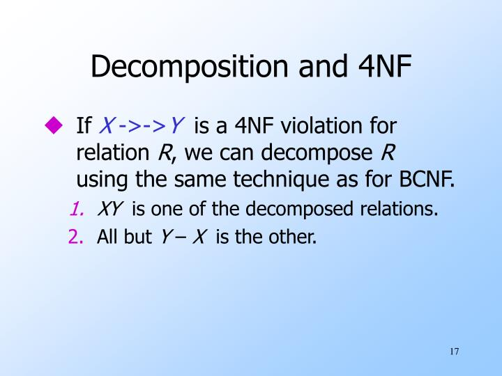 Decomposition and 4NF