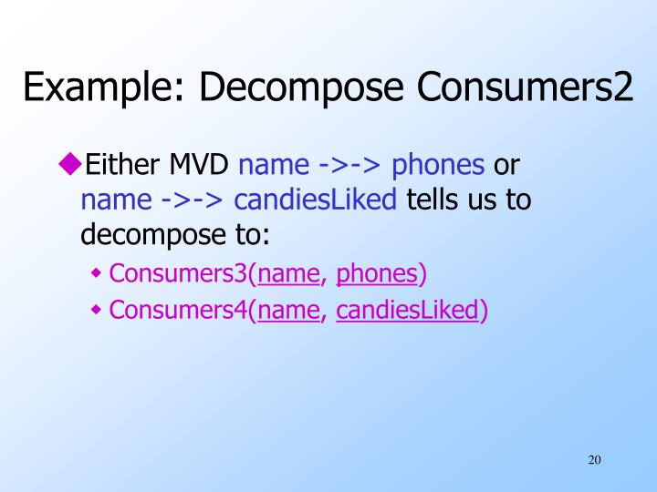 Example: Decompose Consumers2
