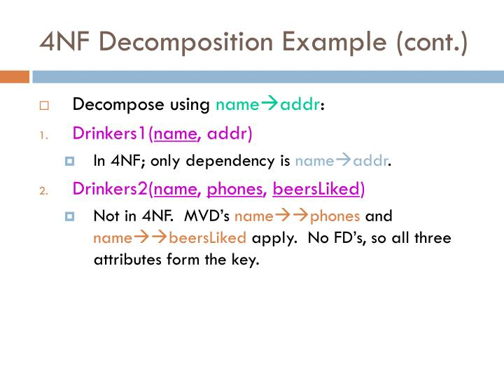 4NF Decomposition Example (cont.)