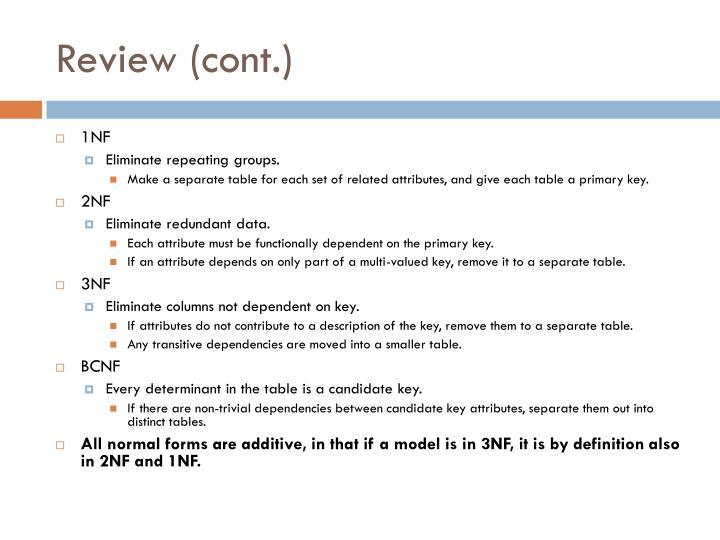 Review cont